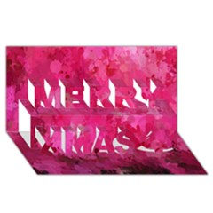 Splashes Of Color, Hot Pink Merry Xmas 3D Greeting Card (8x4)