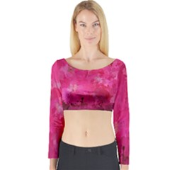 Splashes Of Color, Hot Pink Long Sleeve Crop Top
