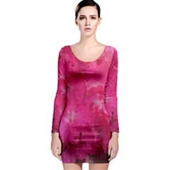 Splashes Of Color, Hot Pink Long Sleeve Bodycon Dresses