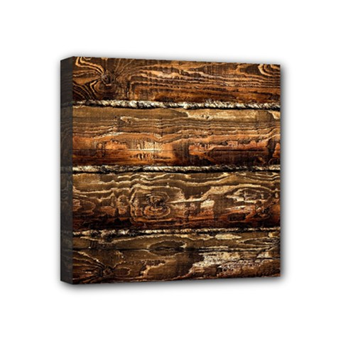 DARK STAINED WOOD WALL Mini Canvas 4  x 4