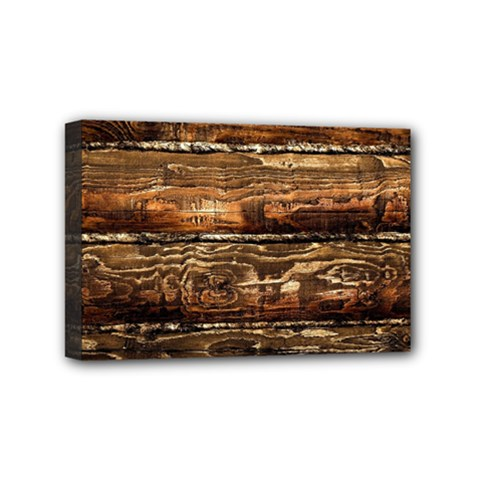 DARK STAINED WOOD WALL Mini Canvas 6  x 4