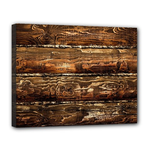 DARK STAINED WOOD WALL Canvas 14  x 11