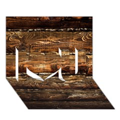 Dark Stained Wood Wall I Love You 3d Greeting Card (7x5)