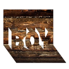 Dark Stained Wood Wall Boy 3d Greeting Card (7x5)