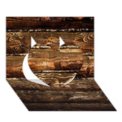 Dark Stained Wood Wall Heart 3d Greeting Card (7x5)