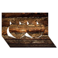 Dark Stained Wood Wall Twin Hearts 3d Greeting Card (8x4)