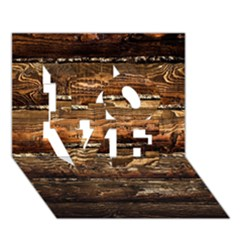 DARK STAINED WOOD WALL LOVE 3D Greeting Card (7x5)