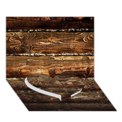 Dark Stained Wood Wall Heart Bottom 3d Greeting Card (7x5)