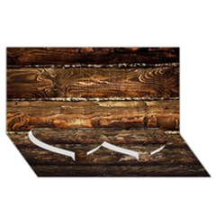 Dark Stained Wood Wall Twin Heart Bottom 3d Greeting Card (8x4)