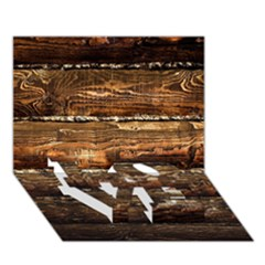 DARK STAINED WOOD WALL LOVE Bottom 3D Greeting Card (7x5)