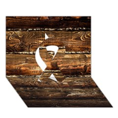 DARK STAINED WOOD WALL Ribbon 3D Greeting Card (7x5)