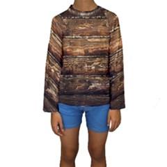 DARK STAINED WOOD WALL Kid s Long Sleeve Swimwear