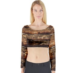 DARK STAINED WOOD WALL Long Sleeve Crop Top