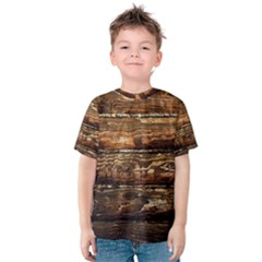 Dark Stained Wood Wall Kid s Cotton Tee