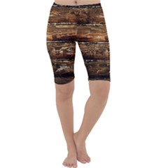 DARK STAINED WOOD WALL Cropped Leggings
