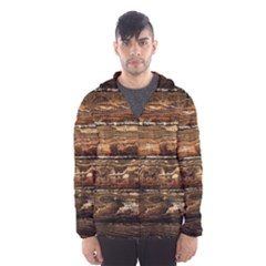Dark Stained Wood Wall Hooded Wind Breaker (men)
