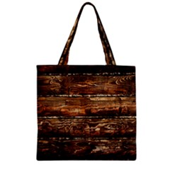 Dark Stained Wood Wall Zipper Grocery Tote Bags