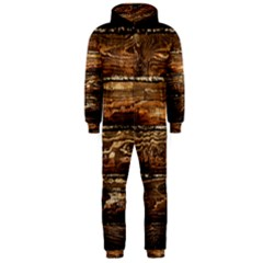 Dark Stained Wood Wall Hooded Jumpsuit (men)
