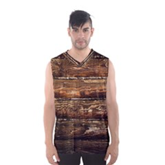 Dark Stained Wood Wall Men s Basketball Tank Top