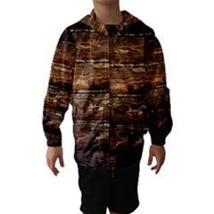 DARK STAINED WOOD WALL Hooded Wind Breaker (Kids)