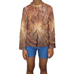 CROSS SECTION OF AN OLD TREE Kid s Long Sleeve Swimwear