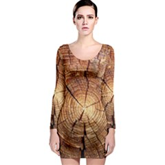 CROSS SECTION OF AN OLD TREE Long Sleeve Bodycon Dresses