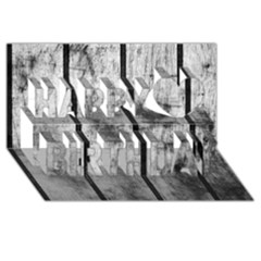 BLACK AND WHITE FENCE Happy Birthday 3D Greeting Card (8x4)