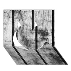 Black And White Fence Heart 3d Greeting Card (7x5)