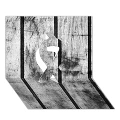 BLACK AND WHITE FENCE Ribbon 3D Greeting Card (7x5)