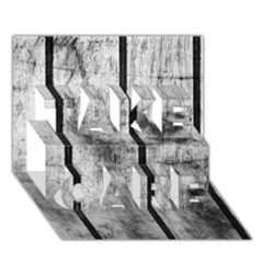 BLACK AND WHITE FENCE TAKE CARE 3D Greeting Card (7x5)