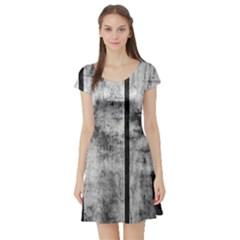 BLACK AND WHITE FENCE Short Sleeve Skater Dresses