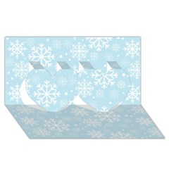 Frosty Twin Hearts 3d Greeting Card (8x4)