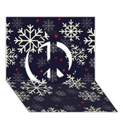 Snowflake Peace Sign 3D Greeting Card (7x5)