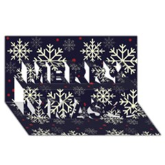 Snowflake Merry Xmas 3D Greeting Card (8x4)