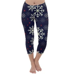 Snowflake Capri Winter Leggings