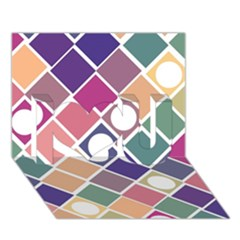 Dots and Squares I Love You 3D Greeting Card (7x5)