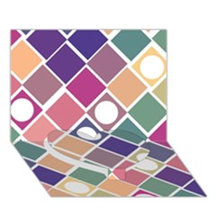 Dots And Squares Heart Bottom 3d Greeting Card (7x5)