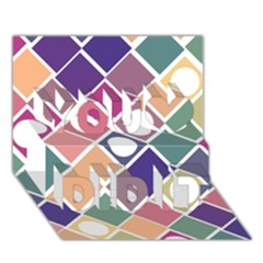 Dots and Squares You Did It 3D Greeting Card (7x5)