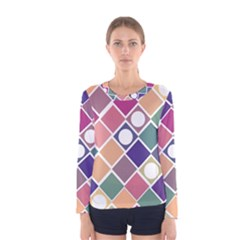 Dots and Squares Women s Long Sleeve T-shirts