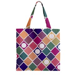 Dots And Squares Zipper Grocery Tote Bags