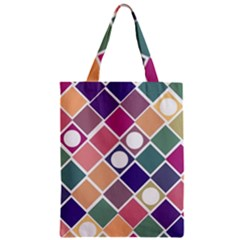 Dots And Squares Zipper Classic Tote Bags