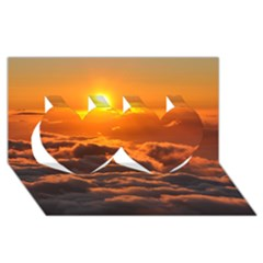 Sunset Over Clouds Twin Hearts 3d Greeting Card (8x4)