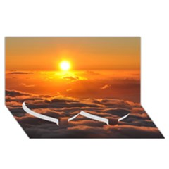 SUNSET OVER CLOUDS Twin Heart Bottom 3D Greeting Card (8x4)