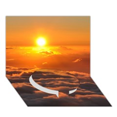 Sunset Over Clouds Circle Bottom 3d Greeting Card (7x5)