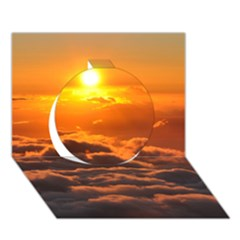 Sunset Over Clouds Circle 3d Greeting Card (7x5)