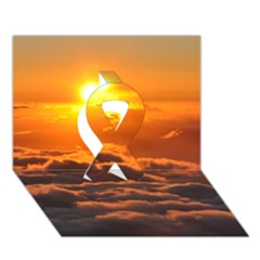 SUNSET OVER CLOUDS Ribbon 3D Greeting Card (7x5)