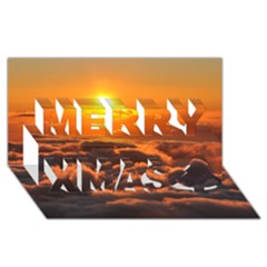 Sunset Over Clouds Merry Xmas 3d Greeting Card (8x4)