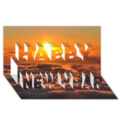 SUNSET OVER CLOUDS Happy New Year 3D Greeting Card (8x4)