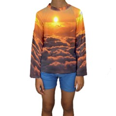 Sunset Over Clouds Kid s Long Sleeve Swimwear