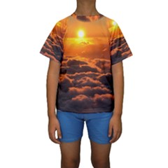 SUNSET OVER CLOUDS Kid s Short Sleeve Swimwear